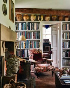 What was a long living room in the gardeners bothy is now a more functional space with a large dividing bookcase creating a single… Small Space Living, Living Area, Small Spaces, Living Spaces, Living Room, Bothy, Interior Exterior, Fine Furniture, Vintage Modern