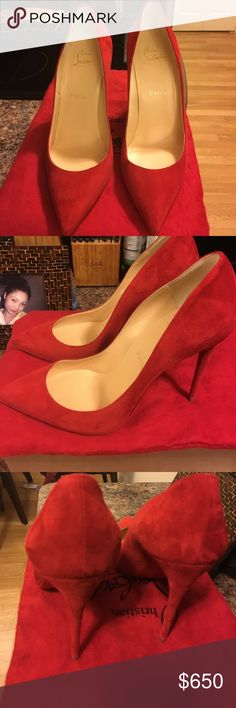 Authentic Christian Louboutin Brand new 2 month old never worn outside . Been worn inside for one hour.  Pigalle follies suede pumps.  Quintessential point toe pump in rich Italian suede self coved heel 4 inches (100mm) suede upper point toe leather lining and sole signature red sole Christian Louboutin Shoes Heels