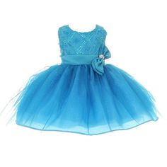 Your baby girl will look so precious wearing this gorgeous dress by Shanil Inc. The beautiful bodice is adorned with rosettes and sequins. The satin sash with a  delicate bow gives it a classy look. And the tulle sparkly skirt will make her the cutest and