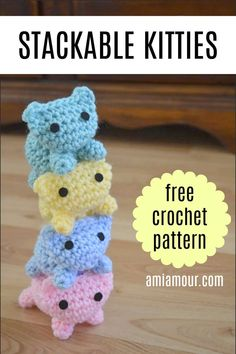 Kitty Mod Free Cat Amigurumi Pattern - Ami Amour Have fun stacking kitties with this adorable Cat Amigurumi FREE crochet pattern! Also includes video tutoria! Chat Crochet, Crochet Mignon, Crochet Gratis, Crochet Motifs, Crochet Patterns Amigurumi, Free Crochet, Knitting Patterns, Crochet Cat Toys, Free Easy Crochet Patterns