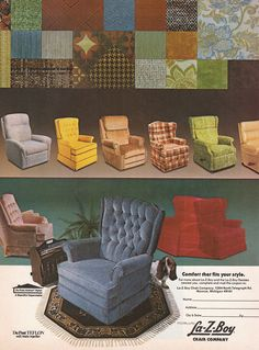 Vintage Goodness Vintage Home Decorating Trends 80s Furniture, Vintage Furniture, Outdoor Furniture Sets, Outdoor Decor, Lazy Boy Recliner, Under The Table, Cool Chairs, Retro Chairs, Mid Century House