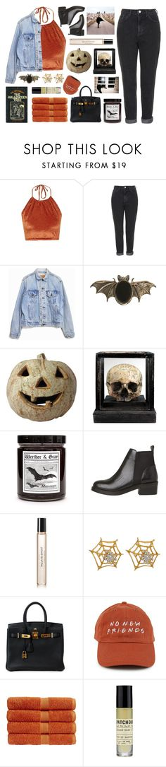 """Happy Halloween"" by tacoxcat ❤ liked on Polyvore featuring The Ragged Priest, Topshop, Levi's, Maria Nilsdotter, Byredo, Cathy Waterman, Hermès, Christy and Le Labo"