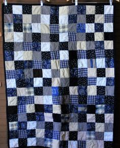 Adorable Country Themed Quilt - Navy, Tan, Cream and Brown #210 by PBandJ on Etsy