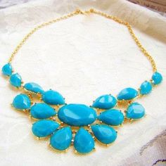 Sterling Blue Gemstone Statement Necklace
