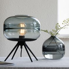 ALONDRA Table Lamp — Best Goodie Shop - Creative Design: This table lamp is made of high-quality thick glass. Make it attractive and special, making your environment more attractive Bedside Lamp, Desk Lamp, Table Lamp Shades, Alondra, Lamps For Sale, Cool Lighting, Table Lighting, Grey Glass, Glass Table