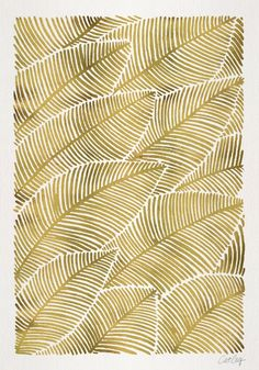 Use gold sharpie on coffee cup and create a pattern like this or palm frond. Tropical Gold Art Print by Cat Coquillette | Society6