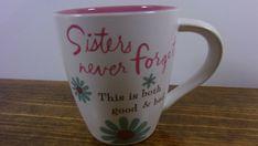 Hallmark Sisters Mug Coffee Cup Mod Flowers Pink Inside Dishwasher/Micro Safe #Hallmark #AllOccasions