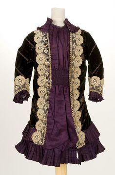 Girl's Dress  1880s . Frequently mixed lace, velvet and satin.