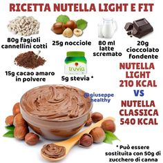 """This is light and fits homemade Nutella, … 👉 Did you know the """"little bean""""? This is light and fits homemade Nutella, …, Nutella Light, Healthy Meals For Kids, Healthy Snacks, Baby Food Recipes, Sweet Recipes, Light Cakes, Gym Food, Light In, Kakao"""
