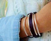 Leather Bracelet, Sterling Silver Bracelet,  Dark Brown Leather Cuff, Sterling Tubes Charm Bracelet