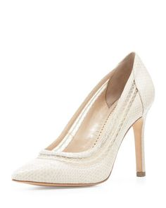 Cailyn Mesh-Collar Snake-Print Pump, Beige by Pour la Victoire at Neiman Marcus Last Call.