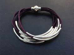 Purple Leather Cuff #Bracelet with Silver or Gold by wrapsbyrenzel