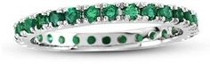 Suzy Levian 14k White Gold Emerald Eternity Band Ring.