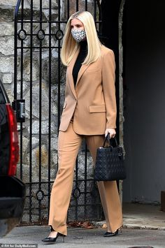 Ivanka Trump steps out in a camel suit from Zara and a $5,500 Lady Dior handbag | Daily Mail Online