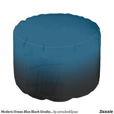 Modern Ocean Blue Black Gradient Pouf