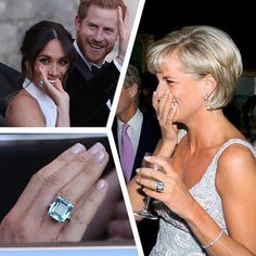 Meghan Markle wore Princess Diana's emerald cut aquamarine ring to the wedding reception at Frogmore House last night. The ring is likely to be a gift to Meghan from Prince Harry, a ring that once belonged to his mother. Princess Diana Ring, Princess Diana Family, Princess Meghan, Prince And Princess, Lady Diana, David Et Victoria Beckham, Harry And Meghan Wedding, Prince Harry Et Meghan, First Ladies