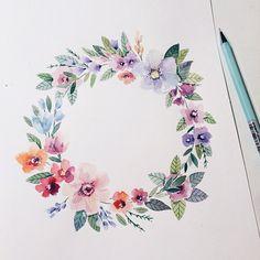 Ilustração floral em aquarela