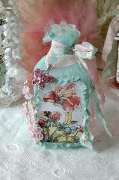 Vintage Altered Art Bottle Pink Clover Fairy Bottle by treasured2