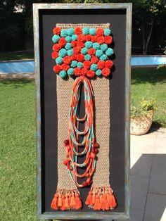 Fiber Art. Ethnic Crochet Crochet Wall Hangings, Textiles, Loom Weaving, Weaving Techniques, 4th Of July Wreath, Textile Art, Altered Art, Fiber Art, Embellishments