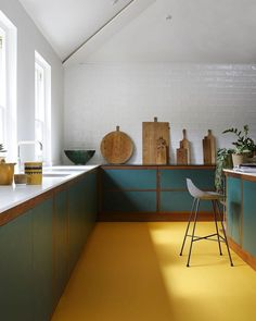 Open Kitchen Rubber flooring is a super practical option for a kitchen. And it doesn't get much better than this pop of yellow. Open Kitchen Rubber flooring is a super practical option for a kitchen. And it doesn't get much better than this pop of yellow. Home Decor Kitchen, Kitchen Flooring, Interior, Kitchen Decor Sets, Rubber Flooring, Home Remodeling, House Interior, Home Kitchens, Kitchen Design