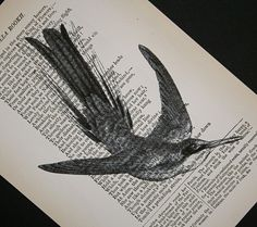 Hummingbird print on salvaged antique book page ...by CrowBiz