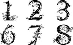 Tattoo Number Fonts Numbers Fonts Number Letter Fonts Tattoos - Clare F - Number 13 Tattoos, Number Tattoo Fonts, Number Fonts, 12 Tattoos, Body Art Tattoos, Cool Tattoos, Tatoos, Number 12, Diy Tattoo