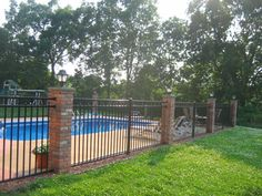 Aluminum Fence With Brick Columns.Ohio Fence Company Eads Fence Co Stone Brick Columns. Davidson NC Yard Pool Privacy Fence 2018 We Do It All . Brick Columns, Brick Fence, Front Yard Fence, Metal Fence, Fenced In Yard, Glass Fence, Pallet Fence, Pallet Pergola, Small Fence