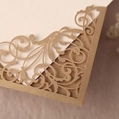 Gorgeous Lace Cut-out Wedding Invitation In Gold (Set of 50) – AUD $ 68.63