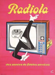 Original 1950s/60s French Radio TV Poster HERVE MORVAN  Estimated Price: $240 - $400  Description: Morvan , Hervé 1917 - 1980. Radiola - des annees des fideles services. Offset ca. 1960 . Size: 61.4 x 45.2 in. (156 x 115 cm) . Printer: Bedos & Cie., Paris .