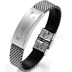 Edelstahl Damen Herren Silikon Armband Skorpion Gürtel Schnalle Armreif Armkette