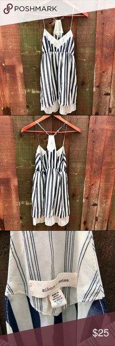Urban Outfitters semi-sheer babydoll tunic/dress Super cute and dainty semi-sheer tunic top/dress. Can be worn as tunic or as very short minidress. Navy/white stripe. Underlay peeks through at bottom and is different stripe pattern. Adjustable straps. Elastic at waist. No trades Urban Outfitters Tops Tunics