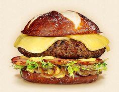 The Rhinelander:  Wisconsin Butterkase Cheeseburger Recipe.  Other ingredients:  beer mustard, sautéed onions, pretzel bun, beef patty, smoked ham, and frisee lettuce.   - Wisconsin Milk Marketing Board