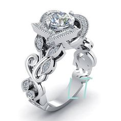 Disney's Beauty and the Beast Princess Belle Swirl Rose Inspired 4.75Cts White Swarovski Diamond Sterling Silver White Gold Engagement Ring