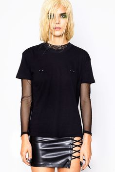 PIERCING TEE BLACK || SHOP HERE: https://www.goodbyebread.com/collections/tops/products/piercing-tee-black #goodbyebread #hoesbeforebros #photoshoot #lookbook #black #piercing #nipples #classic #fit #short #sleeves #round #neckline #cool #edgy #pleasure #skirt #laceup #matte #nails #wet #look