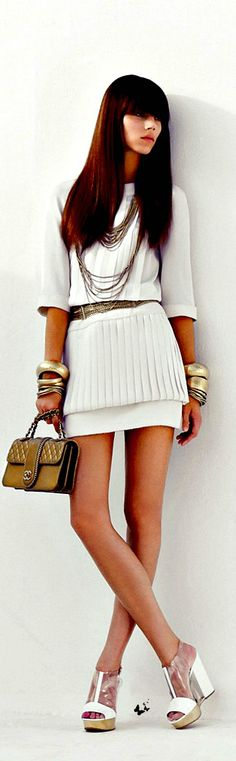 Women's fashion   Chanel White Cropped Top Mini Skirt, 2015 ❤️❤️❤️