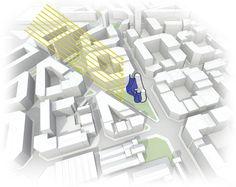 Se busca liberar la mayor parte de la superficie de la parcela, concentrando el programa en altura (dos torres), generando nuevo espacio público de mucha ...
