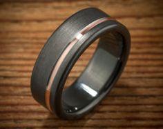Demi-jonc Comfort masculine Fit Zirconium noir intérieur Or Rose Stripe Ring