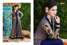 Buy Multicolor embroidered net salwar with dupatta semi-stitched-salwar-suit online Indian Anarkali, Anarkali Dress, Anarkali Suits, Bollywood Dress, Indian Bollywood, Designer Salwar Kameez, Indowestern Gowns, Navy Gown, Celebrity Costumes
