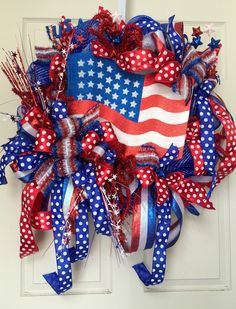 Patriotic 4th of July Red, White, and Blue Summer Mesh Wreath by WilliamsFloral on Etsy https://www.etsy.com/listing/235047492/patriotic-4th-of-july-red-white-and-blue