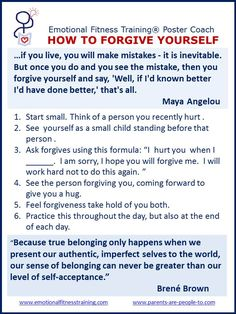 How to forgive yourself.
