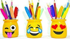 diy candy school supplies troom troom diy school supplies for american girl dolls diy project ideas Party Emoji, Emoji Bedroom, Bedroom Desk, Diy Arts And Crafts, Diy Crafts, Cute Emoji, Pencil Boxes, Diy School Supplies, Pen Holders