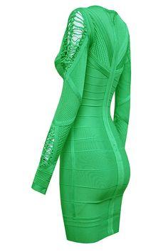 Shazaya Green Mesh Long Sleeve Bodycon Bandage Dress