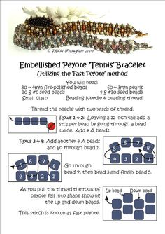 Embellished Peyote 'Tennis' Bracelet Tutorial must try! @ecrafty #ecrafty #diybracelets #braceletsupplies