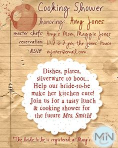 Bridal shower invites for the foodie bride to be.  Love it!