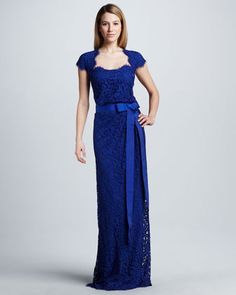 Love the color of this Belted Lace Cap-Sleeve Gown by Tadashi Shoji at Neiman Marcus.