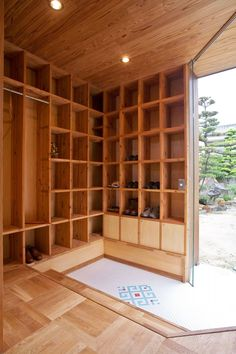 Extraordinary Private Study Facility in Osaka: Awesome Genkan Traditional Japanese Entryway With Wooden Porch Plus Wooden Getabako Or Japanese Shoe Rack And Decorated White Floor ~ frashii.com Architecture Inspiration