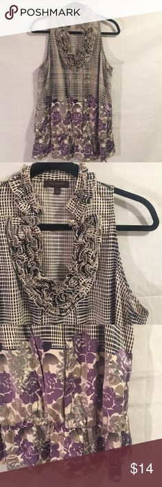 ☃️The Limited Sleeveless Blouse☃️ Gorgeous Limited Blouse! The would pair well with a blazer and pencil skirt. The colors are creamish /tan, gray, black and purple. Good Used condition. Buy it now. The Limited Tops Blouses