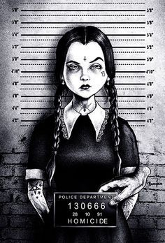 busted wednesday by marcus jones mugshot addams family tattoo canvas art print thing halloween the-munsters screaming-demons artwork Arte Horror, Horror Art, Stretched Canvas Prints, Canvas Art Prints, Wall Prints, We All Mad Here, Evvi Art, Creation Art, Adams Family