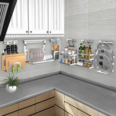 Cheap Racks & Holders, Buy Directly from China DIY Kitchen Rack Stainless Steel Kitchen Shelf Dish Racks Pan Cover Lid Storage Kitchen Organizer Tools Diy Kitchen Storage, Home Decor Kitchen, Kitchen Organization, Kitchen Furniture, Kitchen Interior, New Kitchen, Kitchen Racks, Kitchen Layout, Kitchen Tips