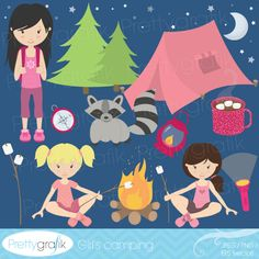 Girls camping - cute clipart for invitations, girl scout newsletters, scrapbooking and more.